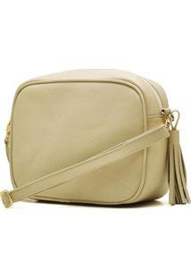 Bolsa Hendy Bag Quadrada Couro Lezar Feminina - Feminino-Amarelo