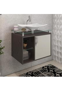 Gabinete De Banheiro 1 Cuba Sobreposta Em Base De Vidro Lagos Mgm Móveis Café/Off White