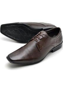 Sapato Social Couro Reta Oposta Bico Quadrado Masculino - Masculino-Marrom