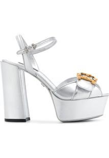 Dolce & Gabbana Sandália Plataforma Com Placa De Logo - Prateado