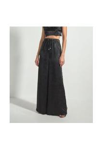 Calça Pantalona Em Cetim Com Fendas Laterais | Just Be | Preto | G