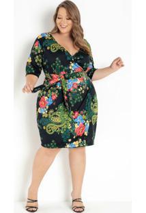 Vestido Floral Preto Transpassado Plus Size