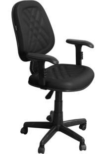 Cadeira De Escritório Pethiflex Ce-02Gpbt Executiva Giratória Com Costura Preta