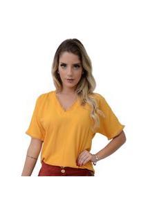 Blusa Mamorena Básica Detalhe Renda Bolinha Amarelo