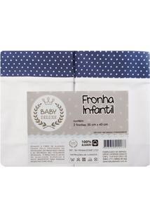 Fronha Infantil Baby Deluxe 2 Peças Marinho Poa Marinho