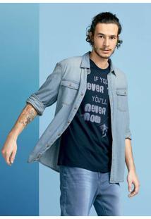 Camiseta Masculina Slim Em Malha De Algodão Com Estampa