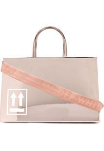 Off-White Sculpture Mirrored Tote Bag - Dourado