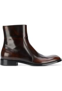 Maison Margiela Ankle Boot Com Zíper - Marrom