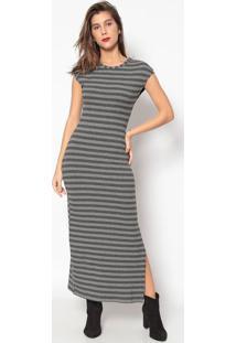 Vestido Longo Listrado- Cinza & Cinza Claro- Colccicolcci