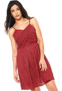 Vestido Lily Fashion Curto Xadrez Vermelho/Preto