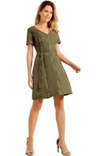 Vestido Estilo K Laura - Feminino-Verde Militar
