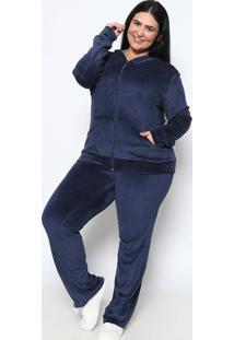 Conjunto De Jaqueta + Calça Reta Em Plush - Azul Escurorovitex