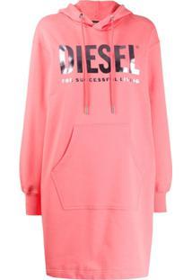 Diesel Vestido De Tricô Com Estampa De Logo - Rosa