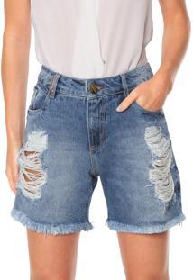 Bermuda Jeans Lança Perfume Destroyed Azul