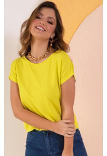 Blusa Soltinha Amarela Com Mangas Curtas