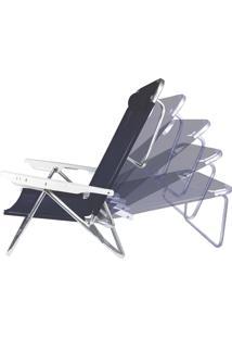 Cadeira Reclinável Com Almofada Summer Azul