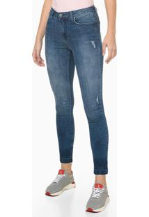 Calça Jeans High Rise Body Skinny Puídos - Azul Médio - 34