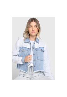 Jaqueta Jeans My Favorite Thing(S) Laise Azul/Branco