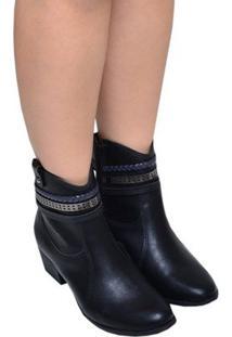 Bota Feminina Ankle Boot Di Vaio Preta