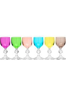 Jogo De Taças Para Licor Klaudie Sterna- Cristal & Colorrojemac