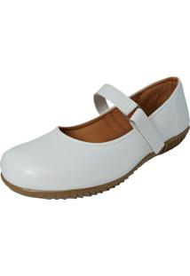 Sapato Sapatilha Boneca Fechado Confort Branco - Branco - Feminino - Dafiti