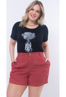 T-Shirt Plus Size Preta Com Strass: Preto: 46