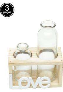 Vaso Decorativo Two Bottles Love Transparente 7,5X8X14,5Cm Urban