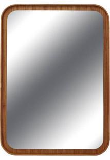 Espelho Lua Retangular Borda Louro Freijo 75Cm - 60297 - Sun House