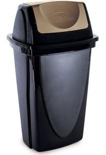 Lixeira De Plástico Com Tampa Basculante Plasútil Ecoblack Preto E Dourado 14L