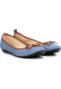 Sapatilha Moleca Jeans Lacinho Feminina - Feminino-Azul