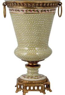 Vaso De Porcelana E Bronze - Linha Flower