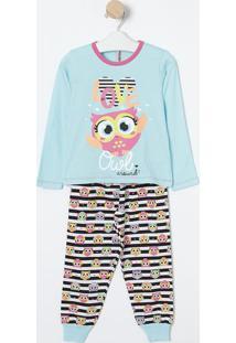 Pijama Listrado Com Coruja- Azul Claro & Preto- Pukepuket