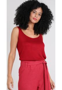 Regata Feminina Em Tricô Decote Redondo Vermelha