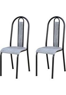 Kit 2 Cadeiras 058 América Cromo/Preto Grafiato - Artefamol