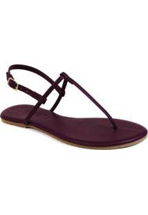 Sandália Mercedita Shoes Flat Básica Verniz Feminina - Feminino-Vinho