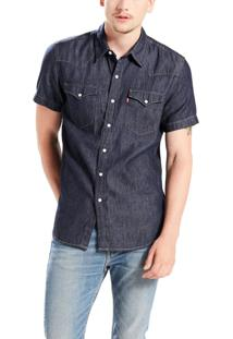 Camisa Levis Masculina Jeans Short Sleeve Classic Western Azul Escura Azul