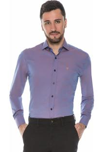 Camisa Hugo Rossi Slim Fit Roxa