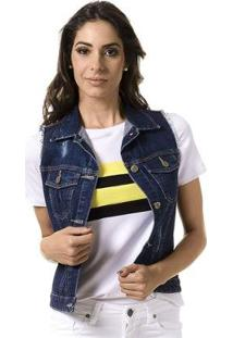 Colete Jeans Bloom Destroyed Feminino - Feminino