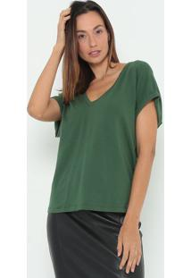 Blusa Lisa Com Franzido- Verde Escuro- Colccicolcci