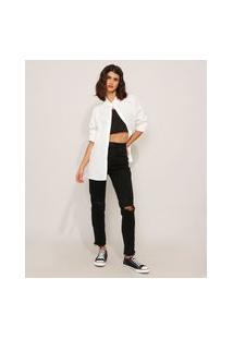 Calça Skinny Push Up Jeans Destroyed Cintura Super Alta Sawary Preta