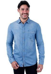 Camisa Jeans Casual Masculina Broken Rules