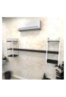 Estante Industrial Escritório Aço Cor Branco 180X30X68Cm (C)X(L)X(A) Cor Mdf Preto Modelo Ind26Pes