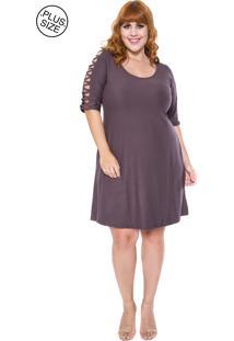 030750fe53 Vestido Plus Size Trancado feminino