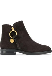 See By Chloé Ankle Boot Com Zíper Lateral - Marrom