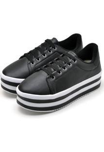Tênis Casual Ousy Shoes Sapatenis Flatform Preto