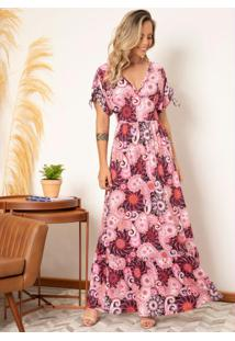 Vestido Longo Floral Folk Com Amarrações