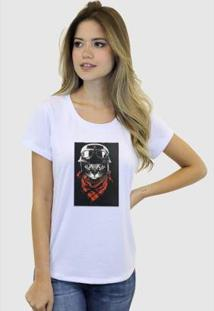 Camiseta Suffix Blusa Estampa Aplicada Em Tecido Gato Preto Basica Gola Redonda Feminina - Feminino-Branco