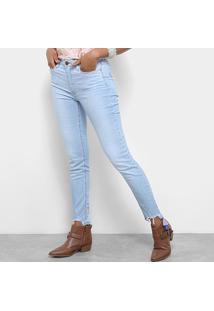 Calça Jeans Jegging Carmim Barra Desfiada Cintura Média Feminina - Feminino-Azul Claro
