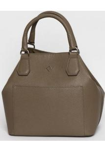 Bolsa Texturizada Com Bolsos - Bege Escuro- 26X28X16Capodarte