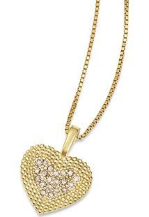 Pingente Pav㪠Coraã§Ã£O Ouro Amarelo E Diamantes Brown